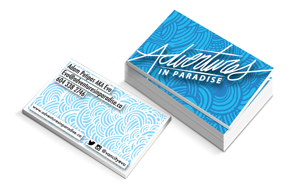 Business cards for Adventures in Paradise