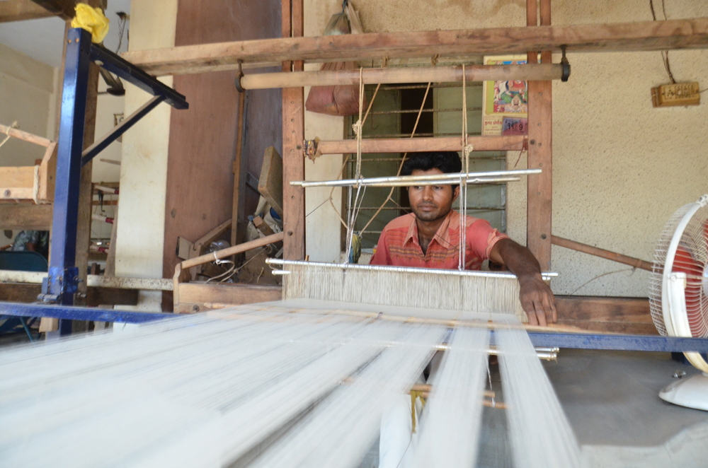 A long view of the tana (warp) used in hand loom weaving