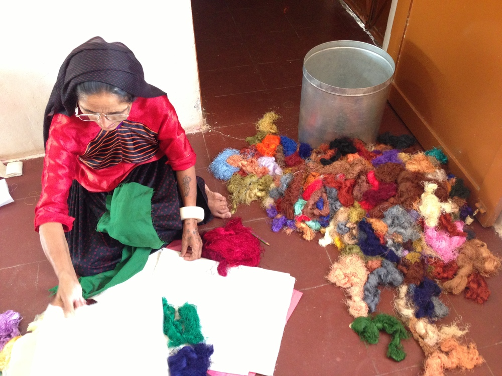 A scene from a collaboration session where embroidery designs are finalized
