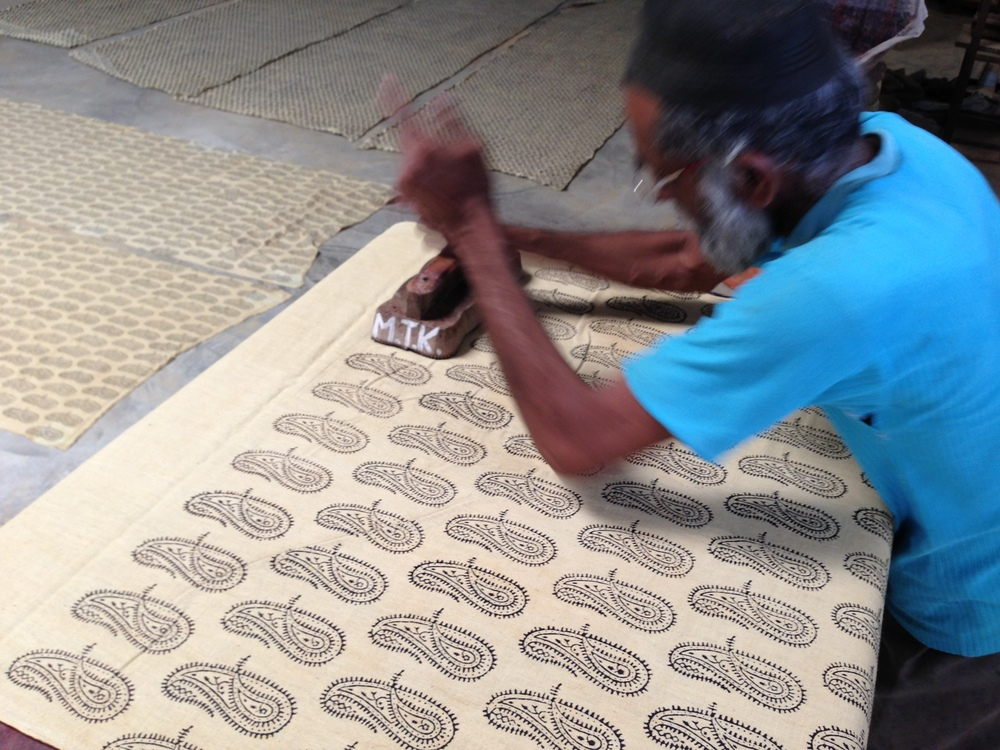 Abrahim is the artisan who block-printed the vegetable-dyed ambi kala fabric, entirely by hand.