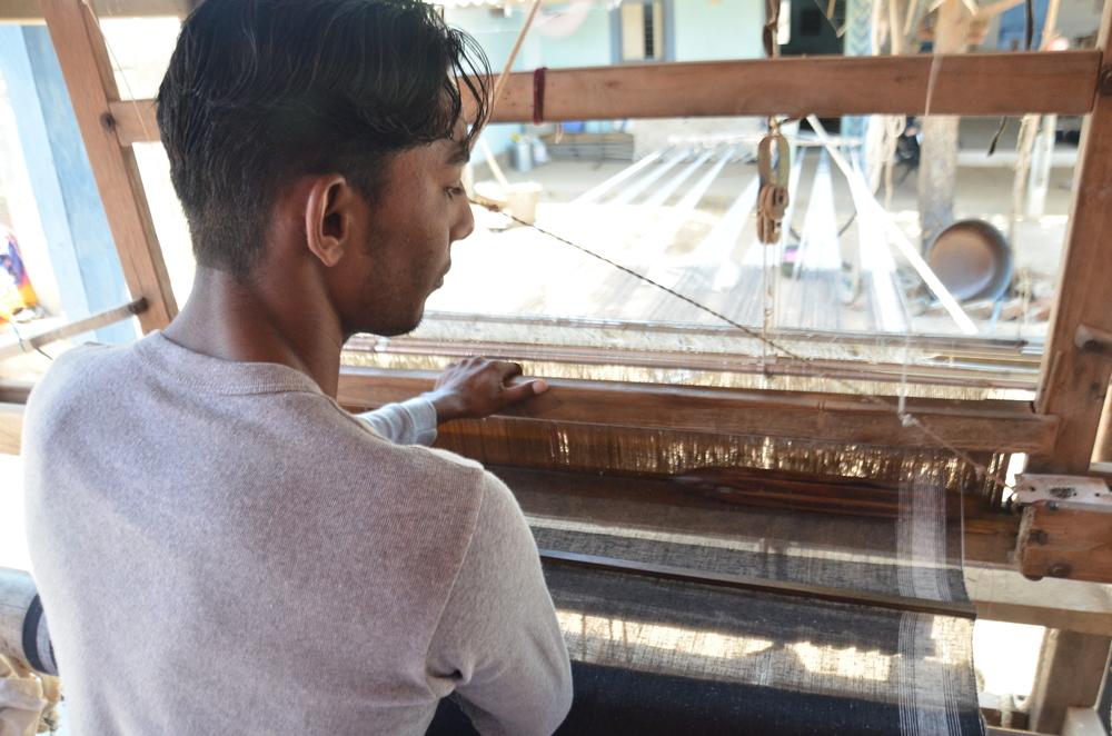 Kala cotton weaver, Jagdish Kanji, has woven almost all of REVIVAL Style's gingam kala fabrics