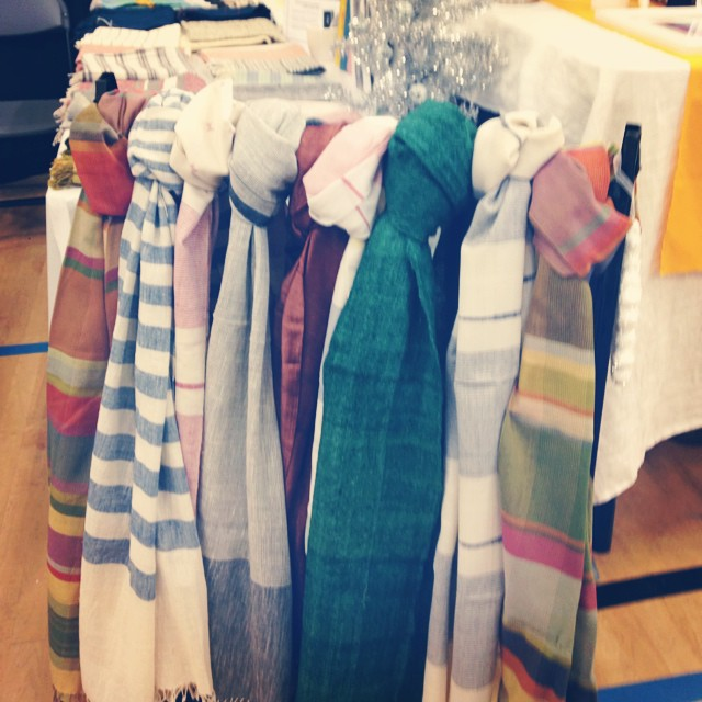 Come shop our holiday scarves. They're entirely handwoven from cotton, silk or wool. We're at the @PortobelloWest holiday market in downtown #Vancouver tomorrow until 5pm.