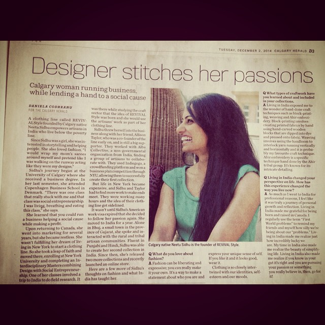 A massive thanks to @demanuela4life for her amazing story featuring @revivalstyle  Founder, Neetu Sidhu. We are even more excited and inspired to keep making beautiful designs and helping our incredible artisans! #gratitude #happy