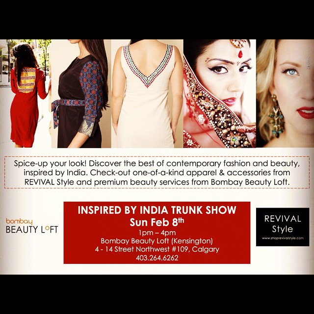 Seeking warmth amidst the chilly weather? Check-out our Feb 8th 'Inspired by India' trunk show at @bombaybeautyloft - contemporary fashion and beauty inspired by incredible India.