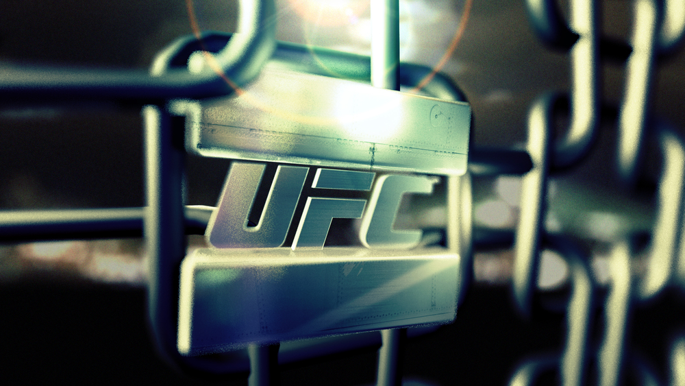 Lockup on the UFC logo in the Octogon's fencing