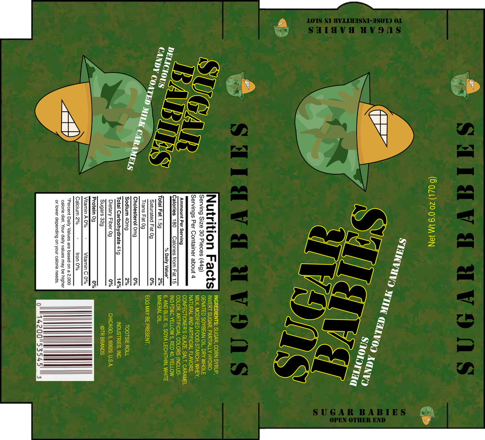 Sugar Babies package redesign done in 2010. Research showed that the highest consumer of Sugar Babies were people in the armed forces, redesign reflects the largest market base.