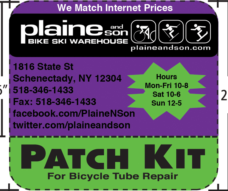 Patch Kit design for Plaine and Son Bike Ski Warehouse created in 2011. Store colors were Purple and Green. Patch Kits would be given away at events to help spread the name and drum up business.