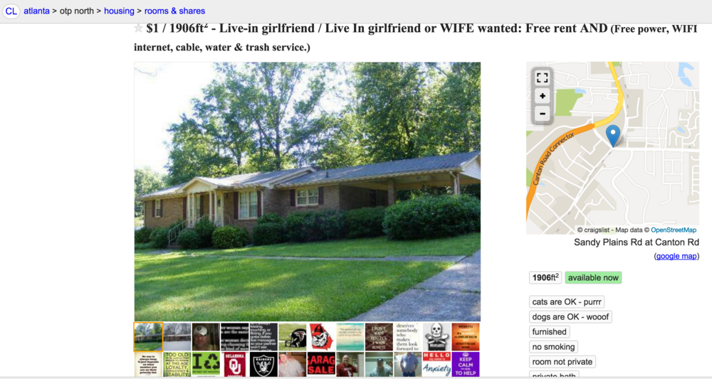 Craigslist Ad For Live In Girlfriend Or Wife Wanted