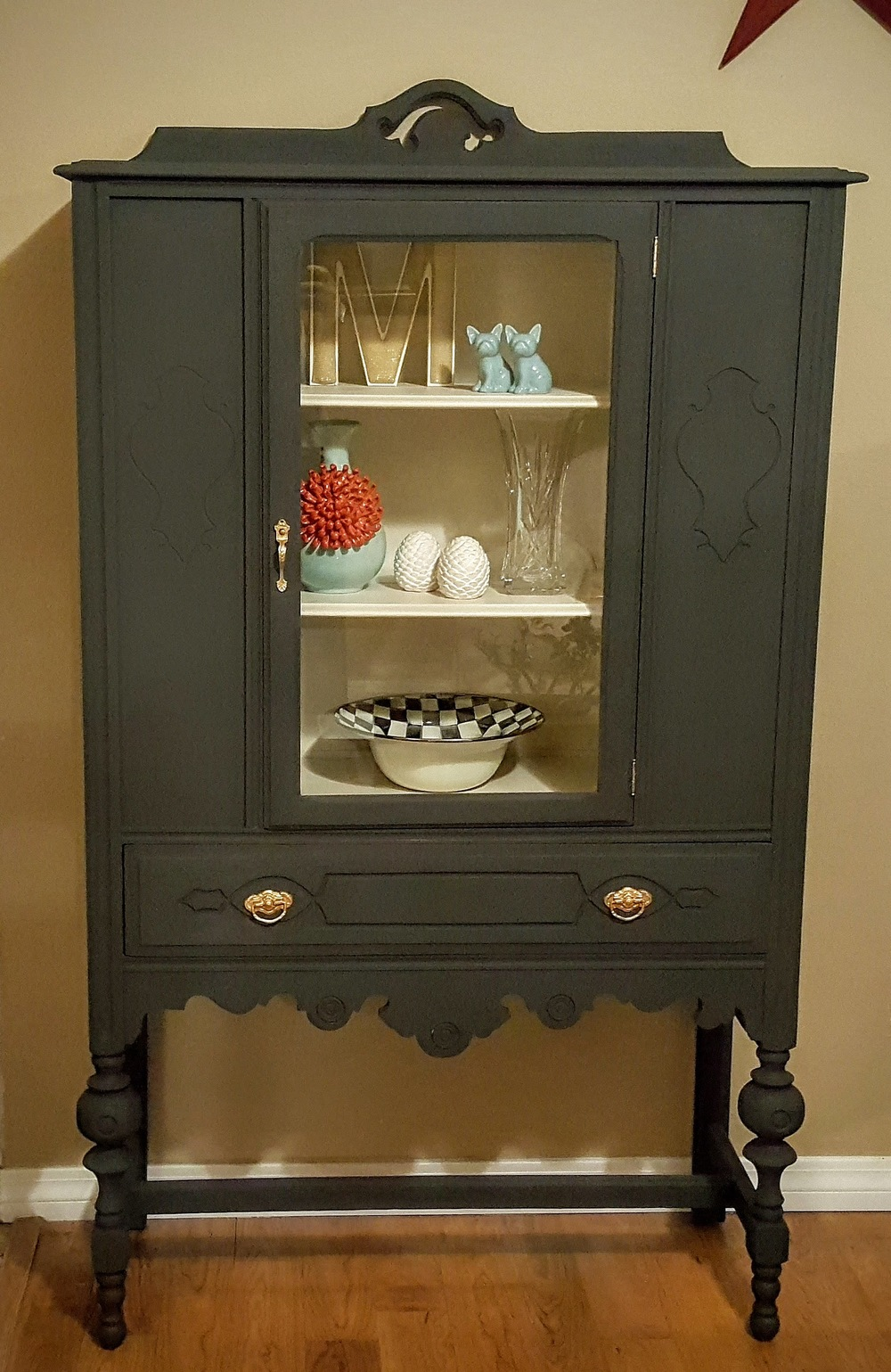Antique China Hutch In Annie Sloan Graphite And French Linen