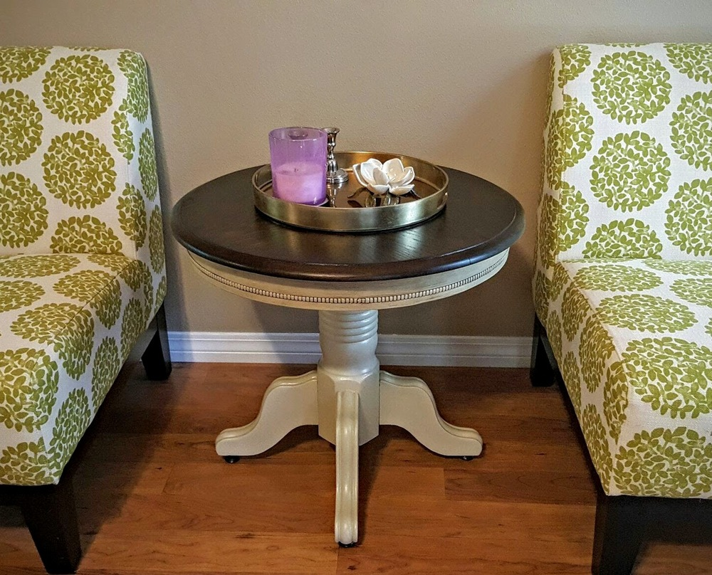 Solid oak round end table refinished in annie sloan country grey solid oak round end table refinished in annie sloan country grey with stained top that gumbo life geotapseo Images
