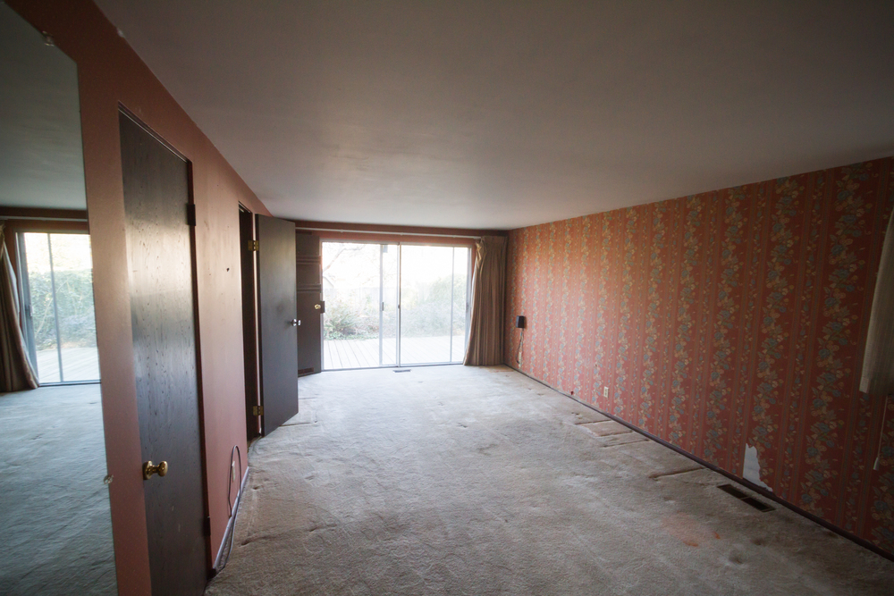 From the doorway to the bedroom.  The wall to the right is the one with the second layer of wallpaper.