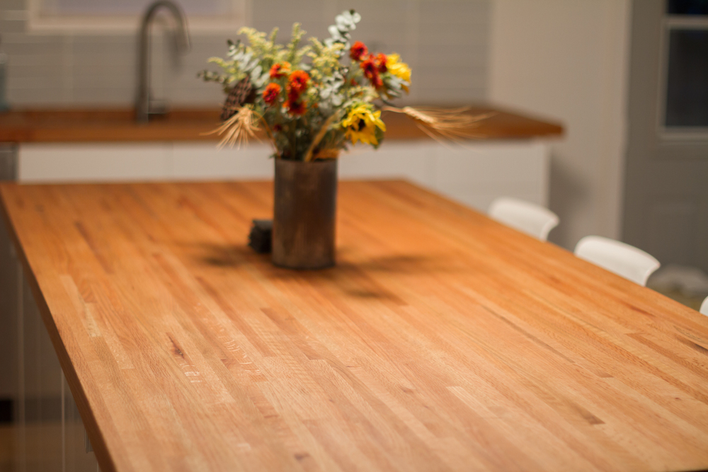 DIY Butcher Block Countertops Made From Leftover Flooring