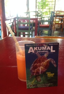 Carrot and orange juice at Turtle Bay Cafe.