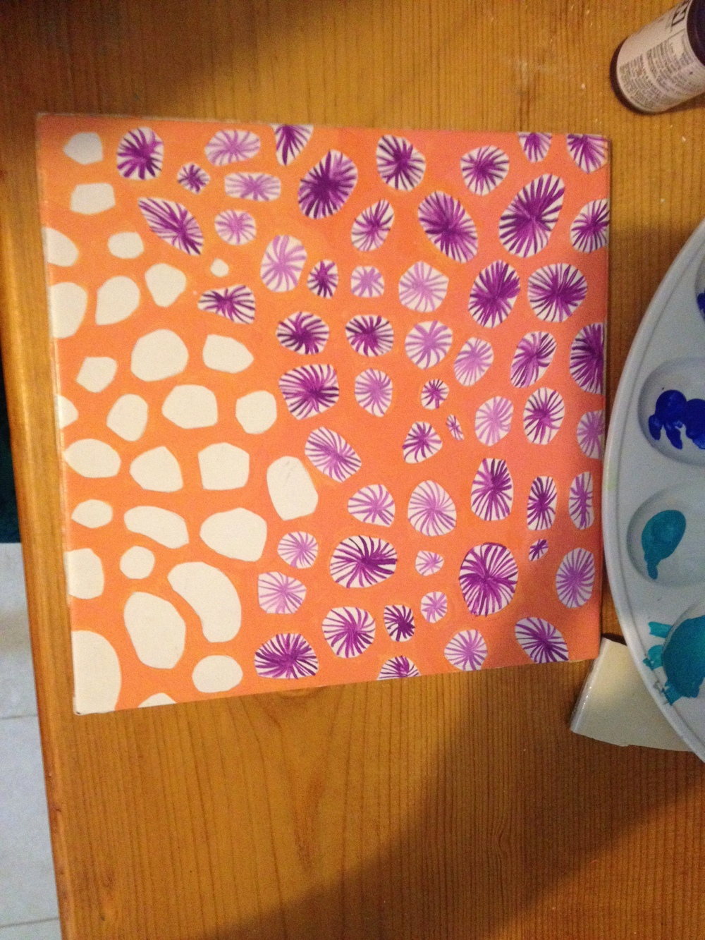 Coral tile with purple.