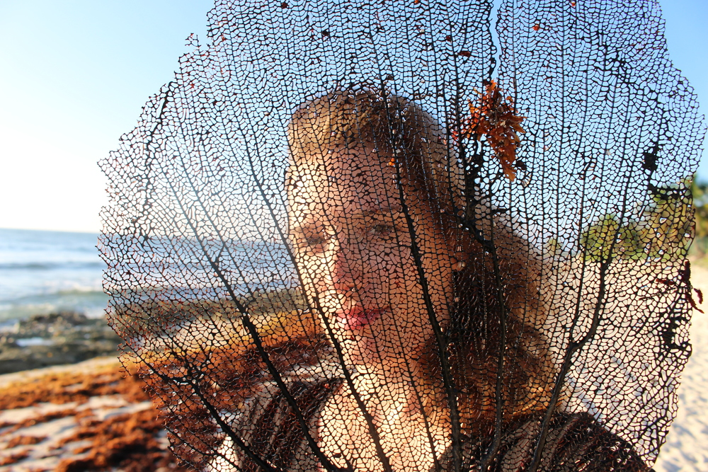 Self portrait with dead fan coral.