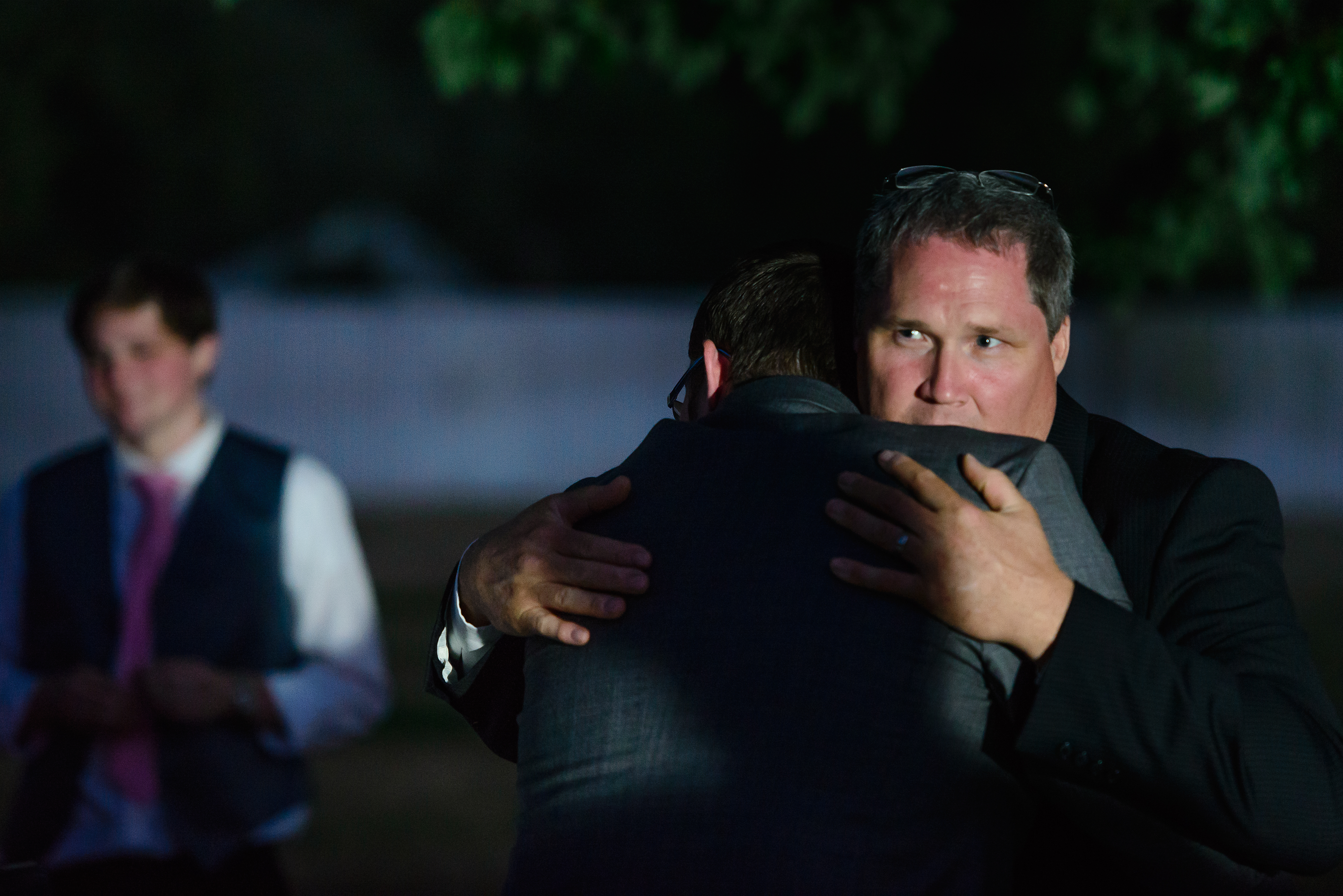 And, one last hug from dad before they hit the road. The potato dad had wedged into the getaway car tailpipe popped out with a loud bang before they even got out of the parking lot.