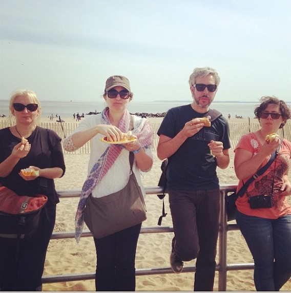 Some of the crew eating Nathan's dogs at Coney Island. In pursuit of other iconic pop-cultural experiences, I also went to both the basketball and the baseball. LET'S GO, NETS/METS. (Thanks for the photo, SC.)