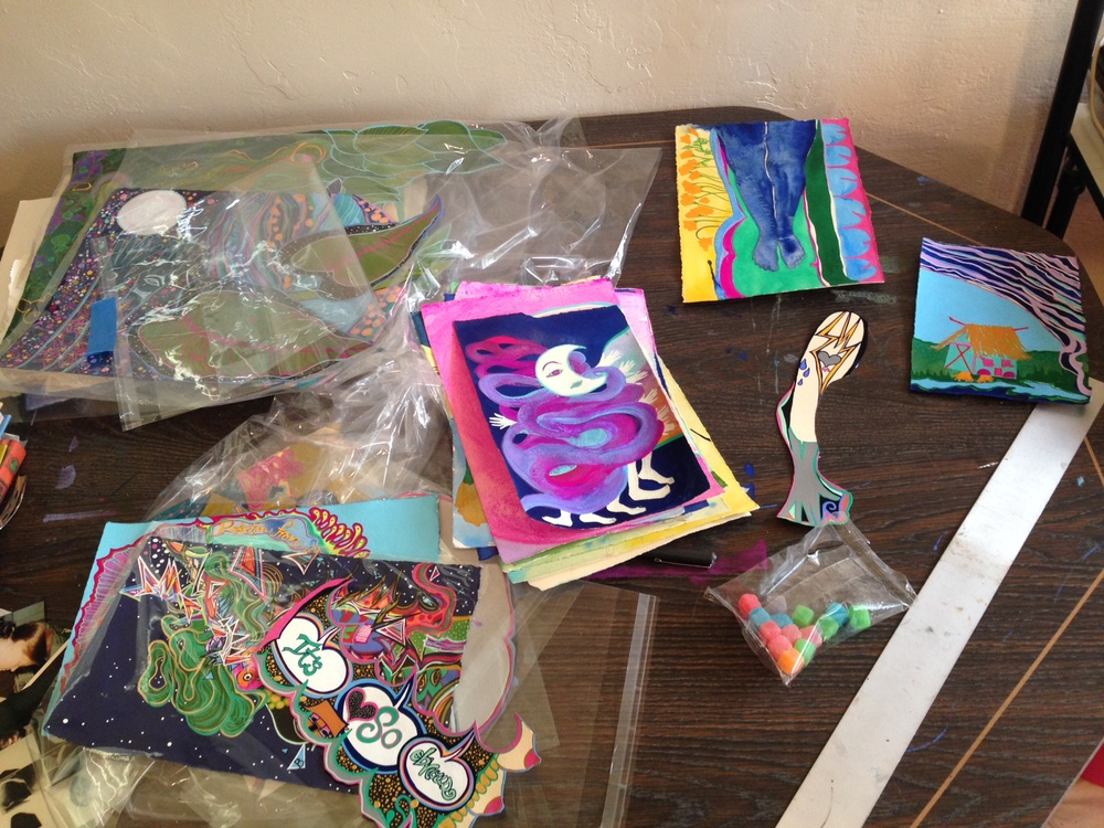 New studio; same old painting piles and matching candy.
