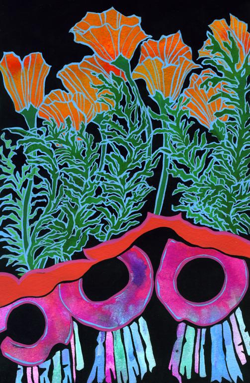 California Poppies Gouache on paper 2014 ©Alexis Amann