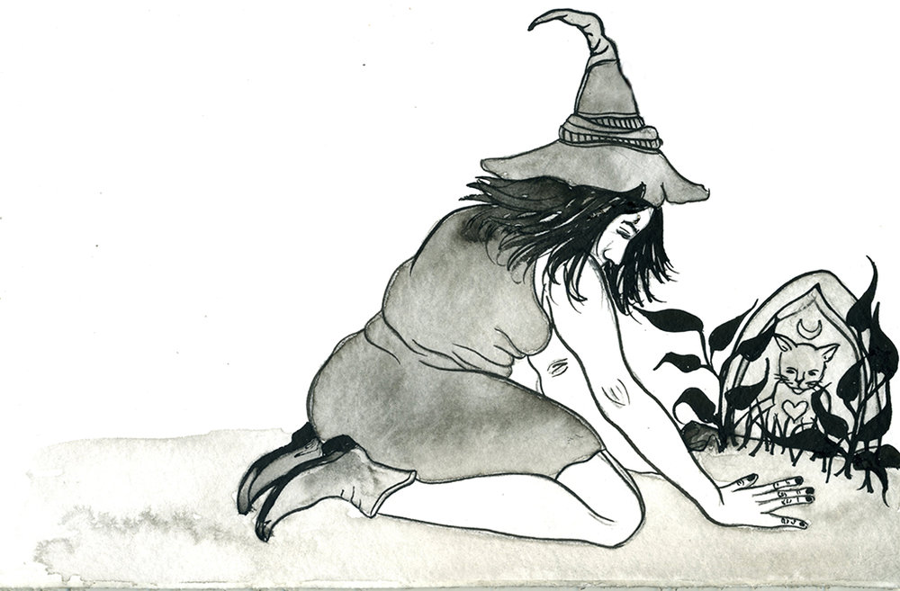 Witch visiting her dead familiar. (Prompt: Sad)
