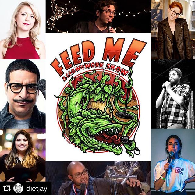 TONIGHT TONIGHT TONIGHT! I'm on this show with people I love. #Repost @dietjay ・・・ Feed Me is back tomorrow night with more crowd work madness! No material allowed - just talk to the crowd. And it's just $5! 10:30 at @thecomedystore.
