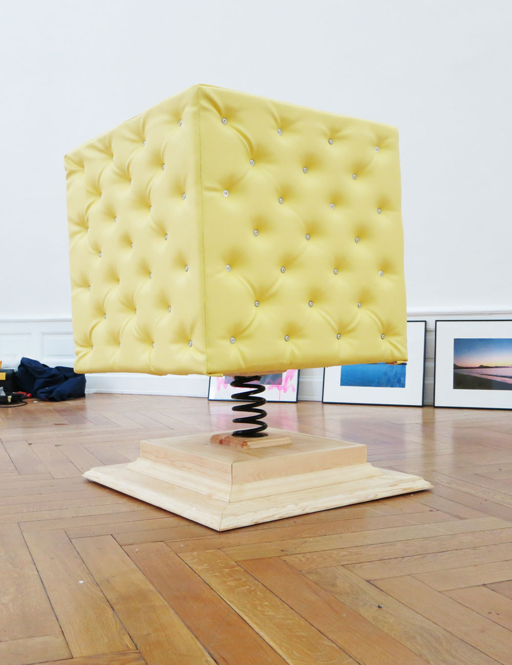 Yellow Obstacle , Spring, wood, foam, upholstered pleather, 2010