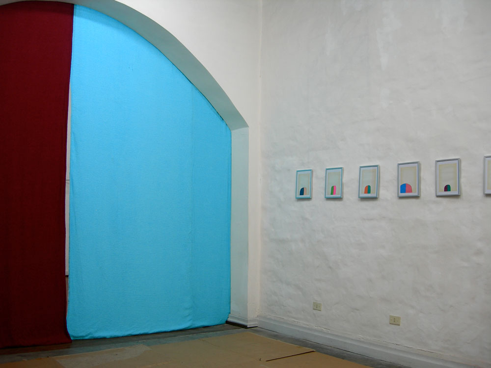 Studies for a Nihilist Curtain , enamel paint on antique school paper, terrycloth, velour, 2006,  El Basilisco, Buenos Aires