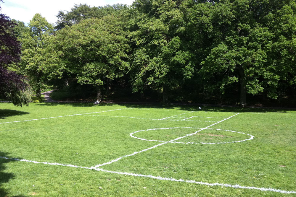 Proposition for an Infinite Game, demarcated field, 2011,Slottsskogen park,Göteborg, Sweden