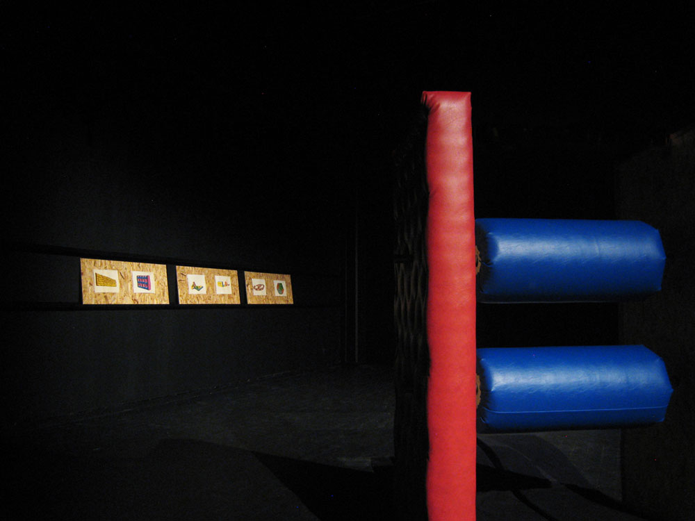 Obsolescent Obstacles , wood, metal, foam, pleather, watercolor on paper, Installation View, Andra Stället, Angered, Göteborg, 2011