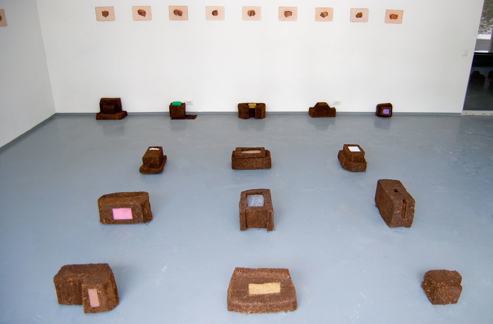 Frontier Vernacular , peat, flock, carpet, rubber, felt, foam, filters, sponge, collage and digital prints on handmade paper, 2014 (photo: Kristin Reiman)