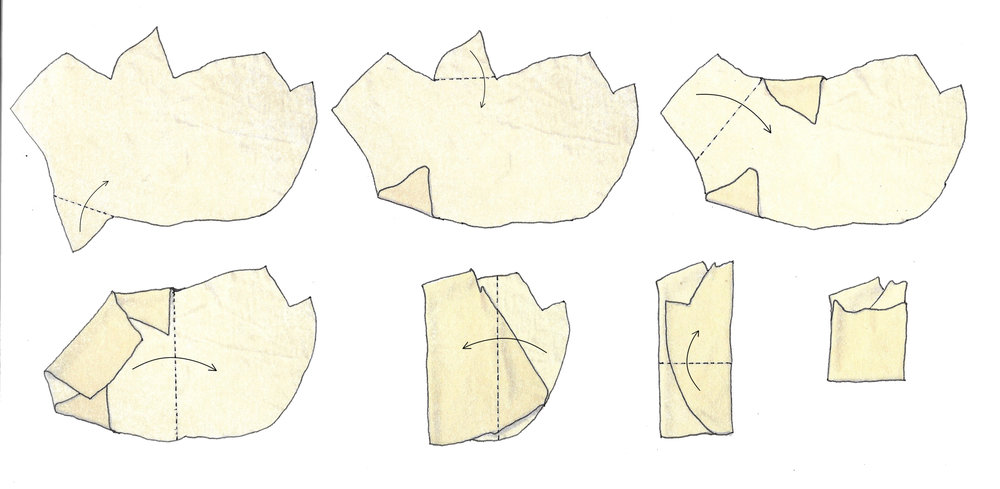 Diagrams depicting the children's instructions of how to fold the shapes.