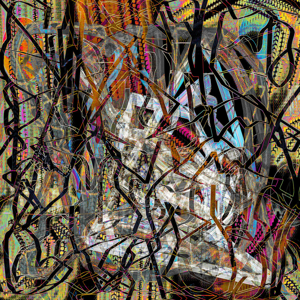 """""""Ghost in the Machine"""" H - 48"""" x W - 48      Series: Digital Painting     On Exhibition October 7 - December 10, 2017, Palm Springs Art Museum, Palm Springs Ca."""