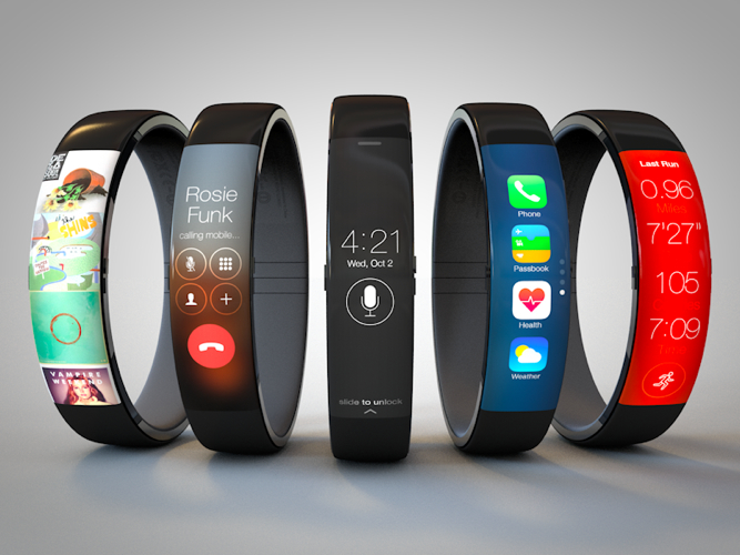 A conceptual mock up of an iWatch I found here: http://www.macrumors.com/roundup/iwatch/