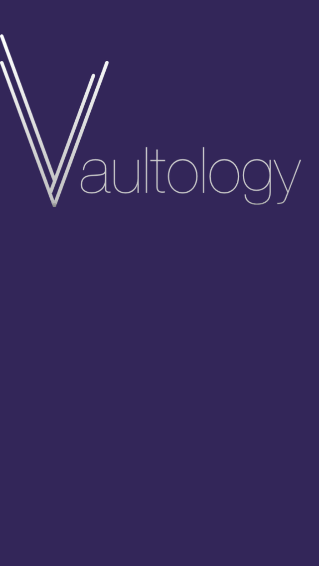 The main menu background image with the Vaultology logo