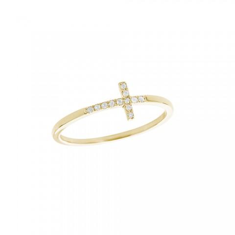 Sydney Evan Gold & Pave Diamond Bent Cross Ring