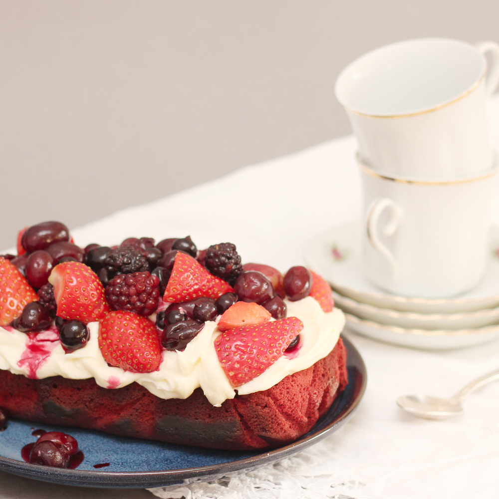 Summer Fruits Red Velvet Cake