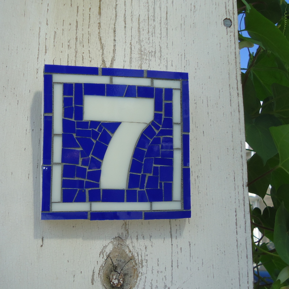 live in mosaics Address Sign Blue White French Inspired home.JPG