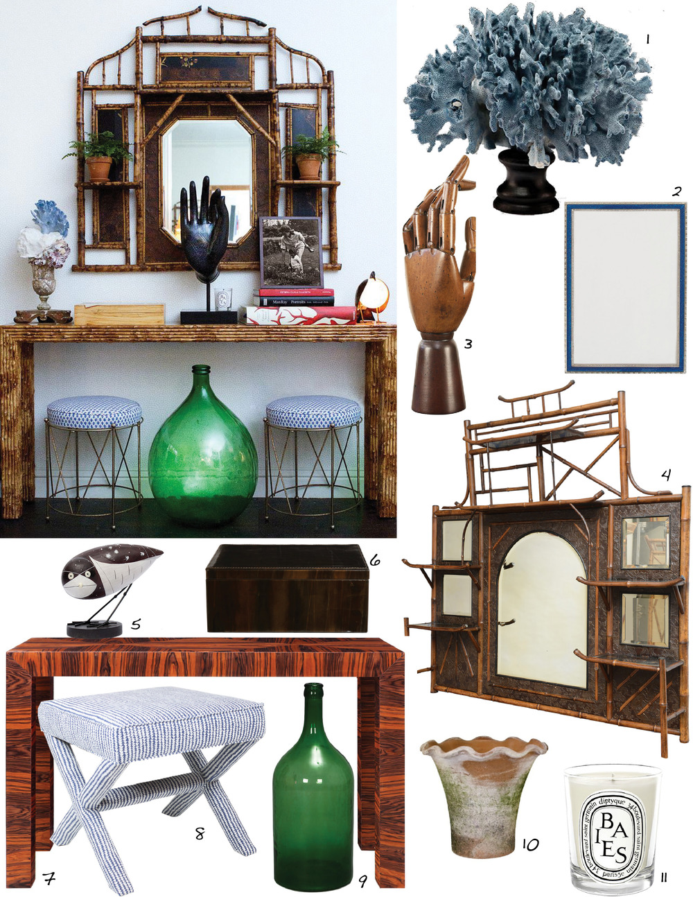 Links:     1. Coral  +  2. Frame  +  3. Hand  +  4. Wall Shelf  +  5. Owl  +  6. Box  +  7. Console  +  8. Bench  +  9. Green Glass Jug  +  10. Flower Pot  +  11. Candle