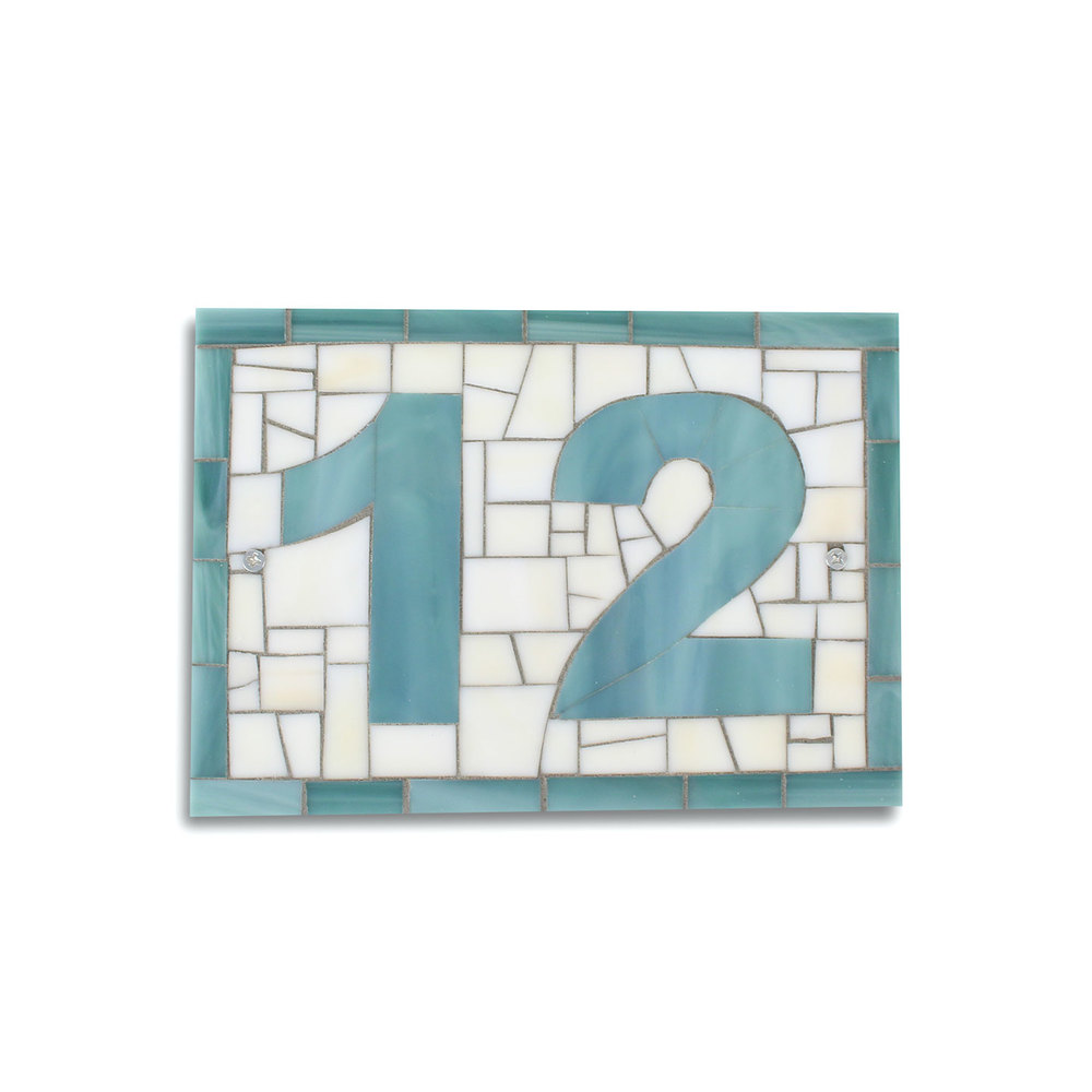 Blue Beige Mosaic House Number Plaque.jpg