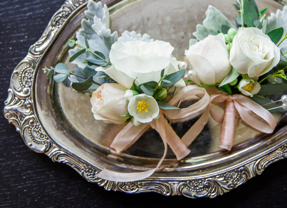 Wild Green Yonder | White and Blush Corsage