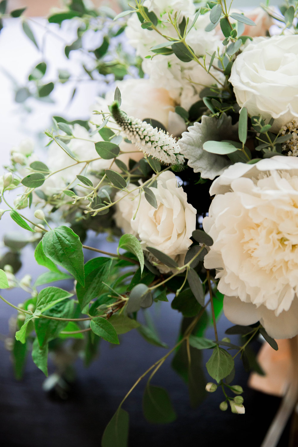 Wild Green Yonder | White and Blush Peonies and Roses Centerpiece