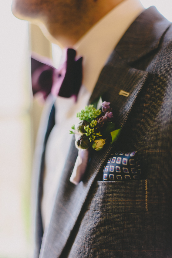 Wild Green Yonder Purple Boutonniere | Josephine Butler Parks Center Wedding