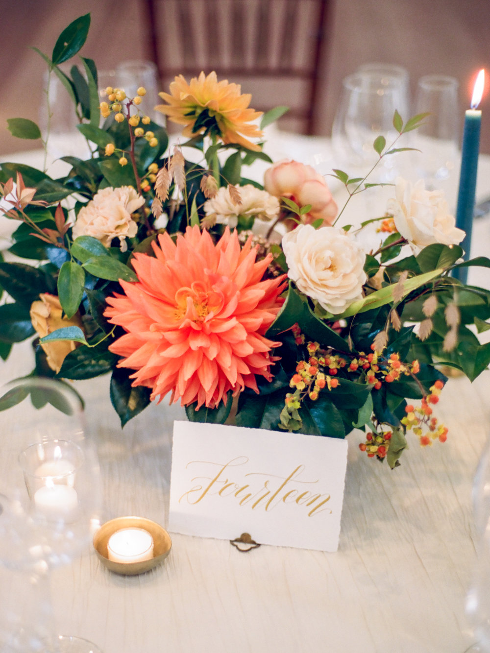 Fall Pippin Hill Wedding Florist | Wild Green Yonder dahlia centerpiece compote