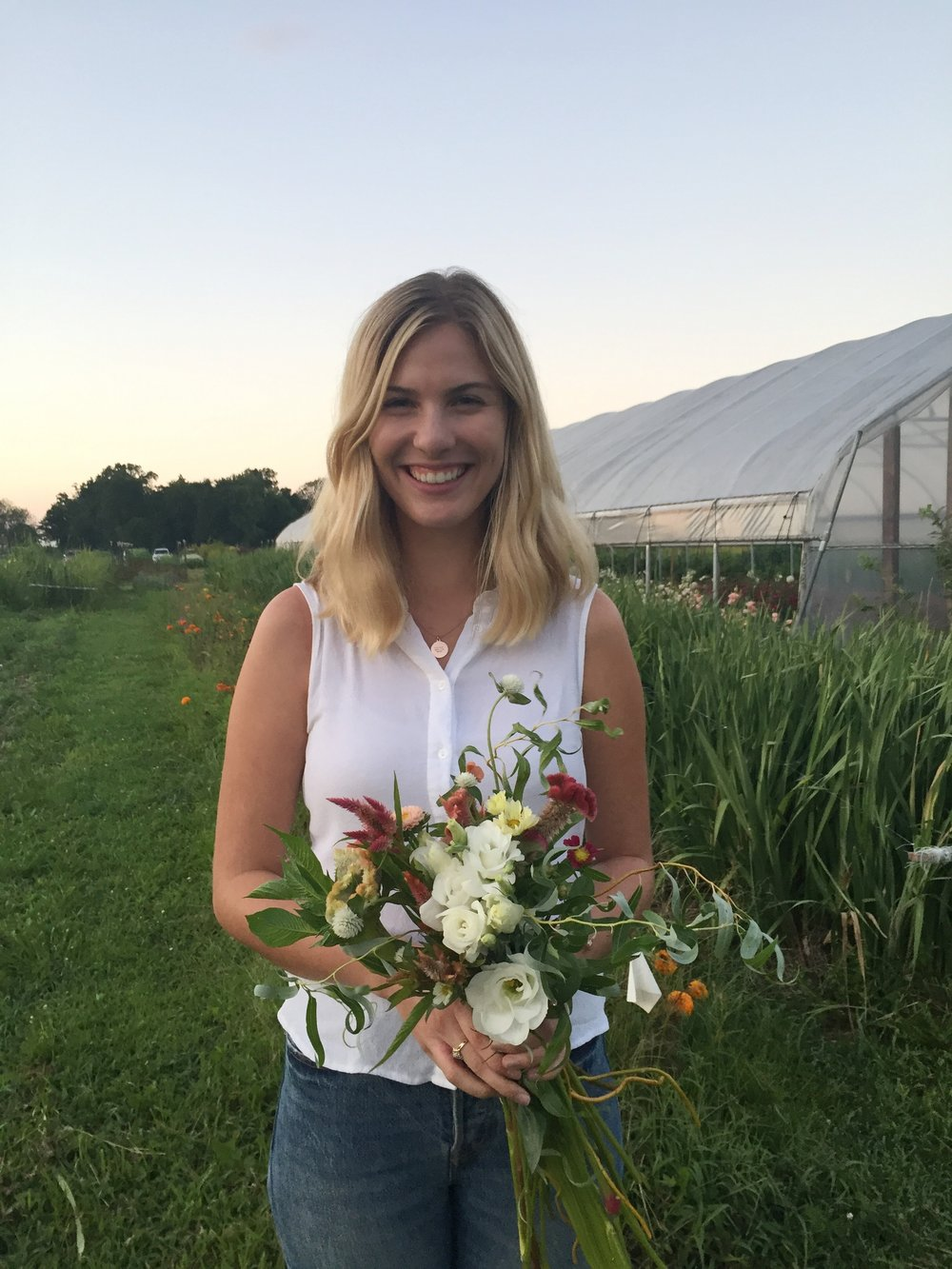 Colleen and her bouquet of Greenstone Fields flowers
