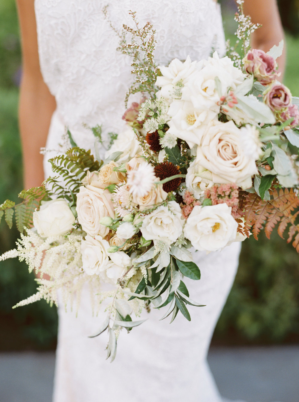 Wild Green Yonder Natural Organic Bouquet for Early Mountain Vineyard Wedding