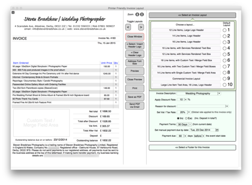 business management software for photographers & photography studios, Invoice examples