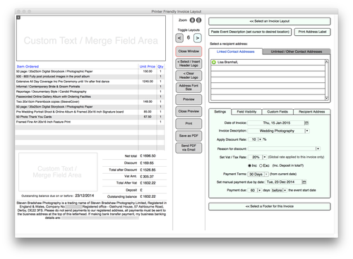 business management software for photographers & photography studios, Invoice templates