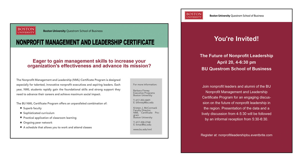 BU Non-Profit Management Info Card, 2016