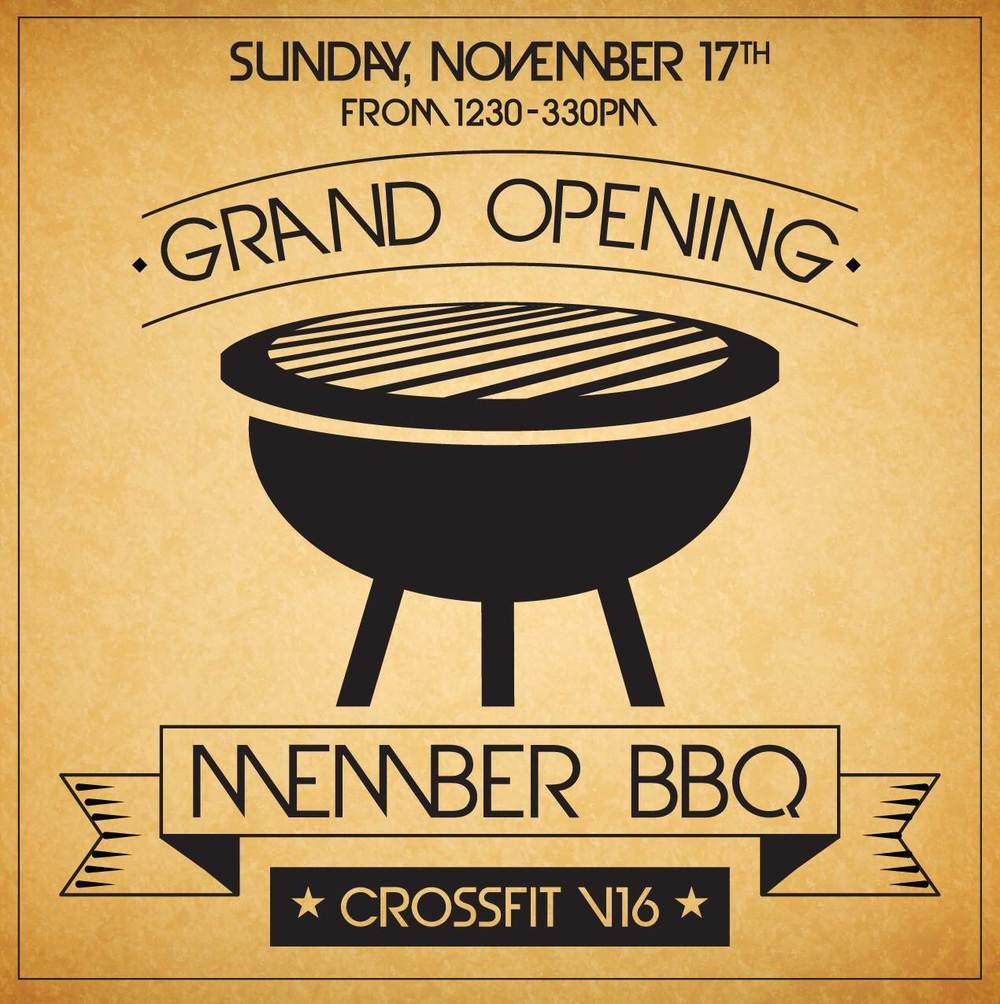 CrossFit V16 Members BBQ. Bring anything you'd like to grill or share. Grill, some food and drinks will be provided.