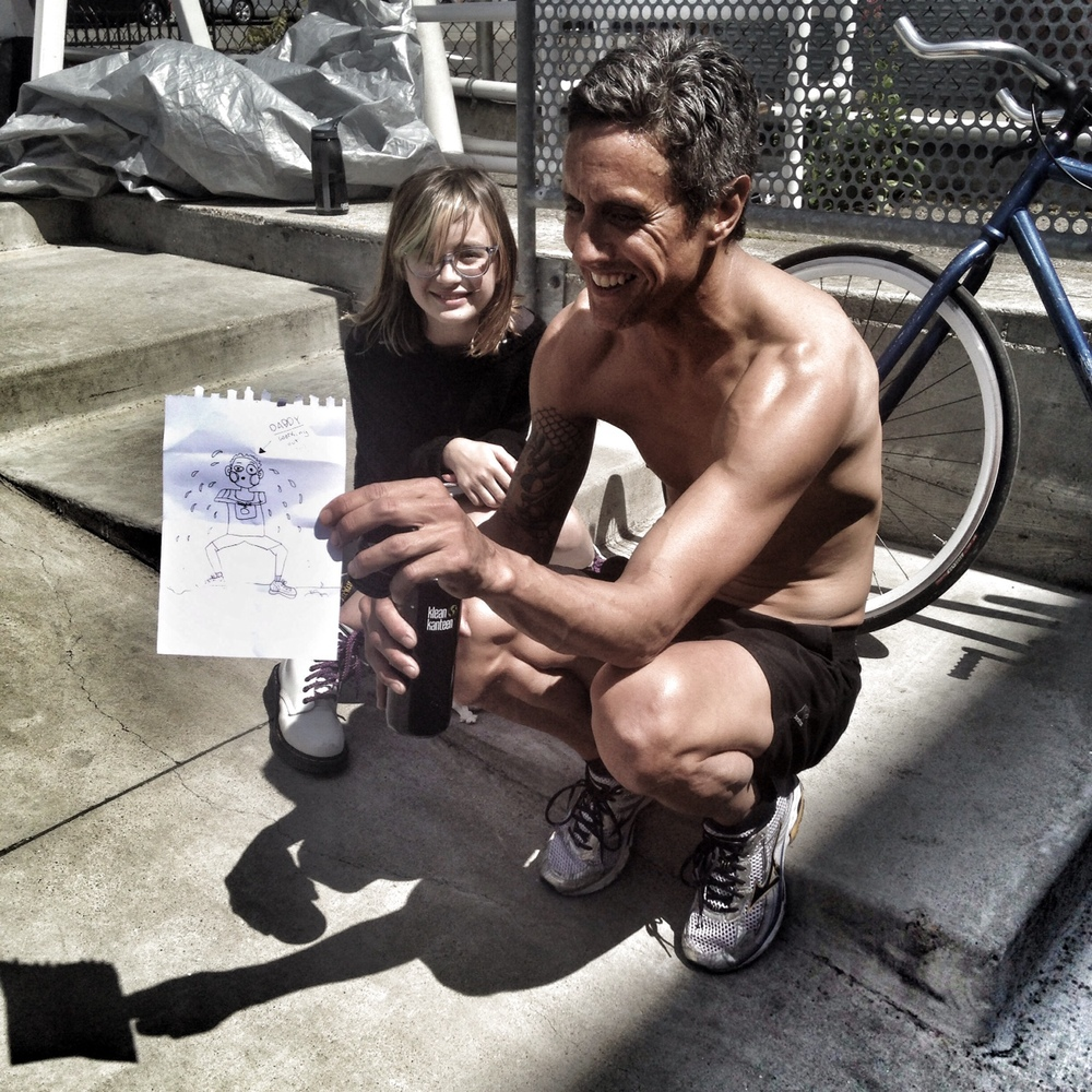 Chris. Daughter draws father CrossFitting.  Photo by Rafael Vega